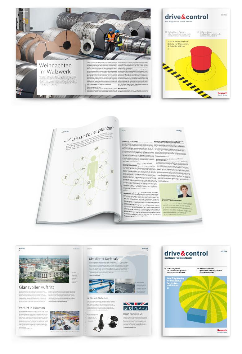 Layoutbeispiele aus dem Mitarbeitermagazin wir von Bosch Rexroth
