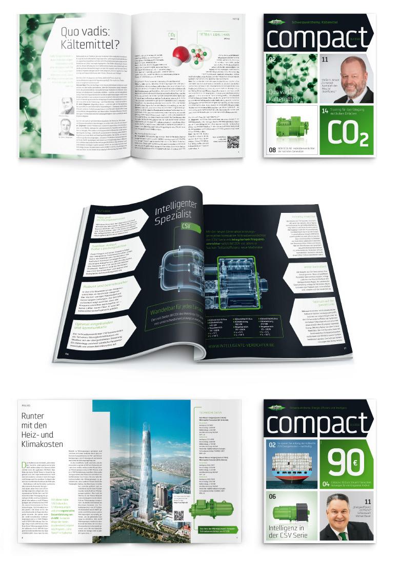 Layouts aus dem Kundenmagazin Compact von Bitzer