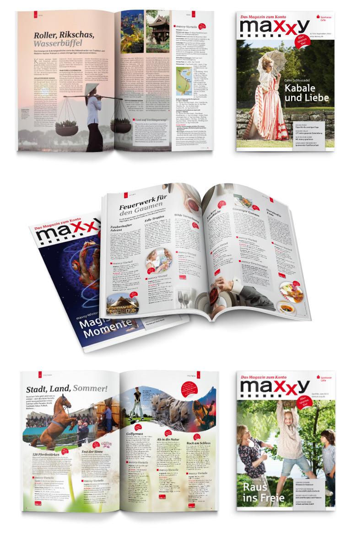 Layoutbeispiele aus Kundenmagazin maxxy des Deutschen Sparkassenverlags