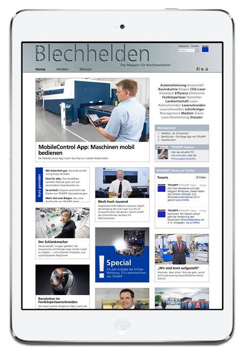 Homepage des Onlinemagazin Blechhelden von TRUMPF