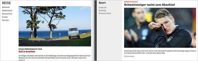 Drüber oder drunter? Wohin gehört die Headline? Screenshots: Spiegel.de und Zeit.de