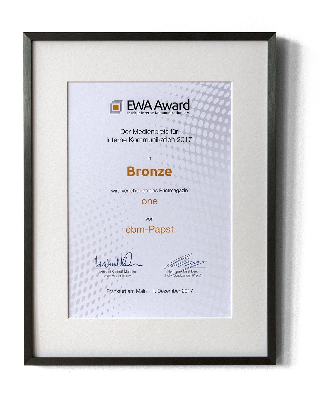 EWA Award für one für Interne Kommunikation